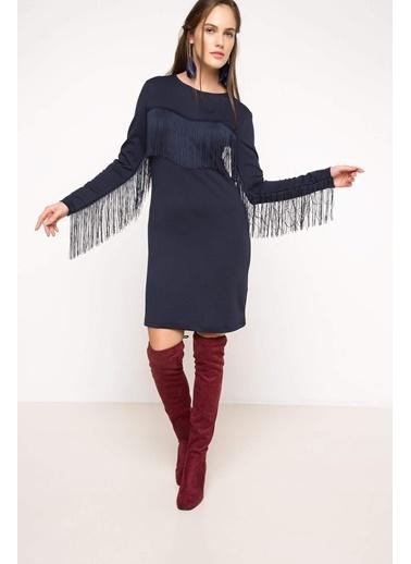DeFacto Püskül Detaylı Elbise Lacivert